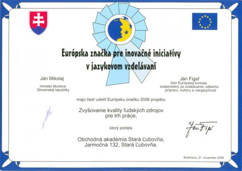 Európskej značky pre inovačné iniciatívy v jazykovom vzdelávaní